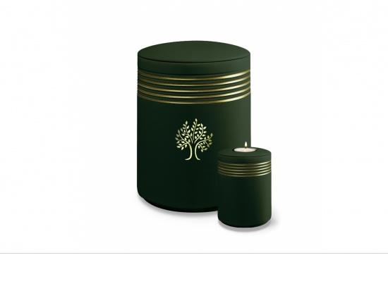 """Keramikurne """"Nova Natur"""" in jadegrün mit Baum in gold   <small>(1805420)</small>"""