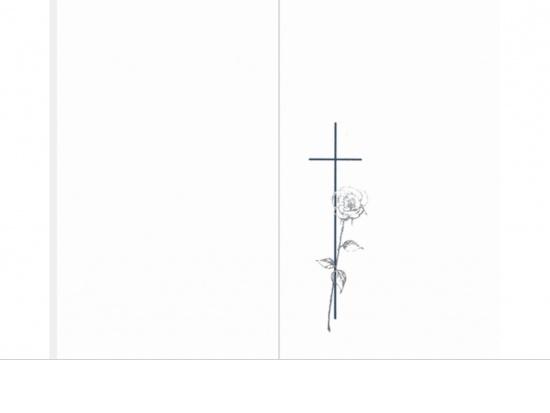 Klappkarte Hochformat SR04 Kreuz mit Silberrose Aussenseite   <small>(SR04)</small>