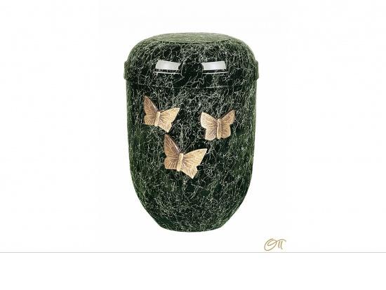 Naturstoffurne in schwarz-grün marmoriert mit Schmetterlingen   <small>(1807040)</small>