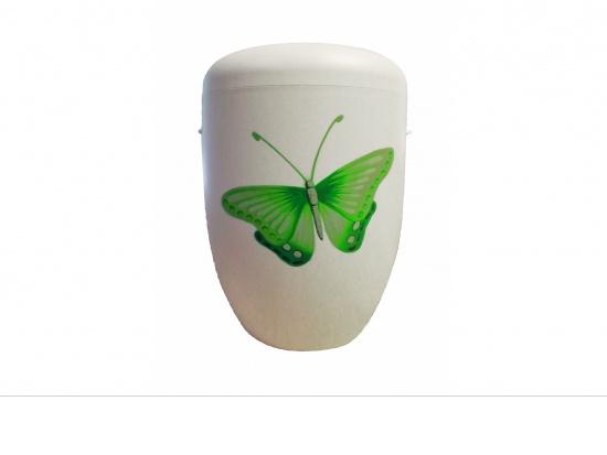 Naturstoffurne elfenbeinfarben mit Butterfly in grün, handbemalt   <small>(187830)</small>